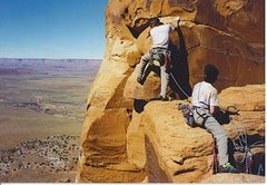 Jeremy J Schlick and Seth Dyer on the last pitch of Sunflower Tower, Indian Creek, UT 1997