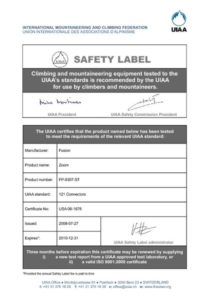the old UIAA cert -2008