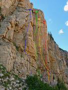 Rock Climbing Photo: Moosehorn lines. Red: Wish You Were Here Yellow: D...