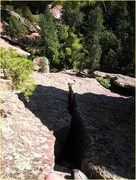 Rock Climbing Photo: Looking down the crack of pitch 2. I managed to av...