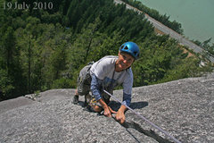 Rock Climbing Photo: Near the top of Manana Crack