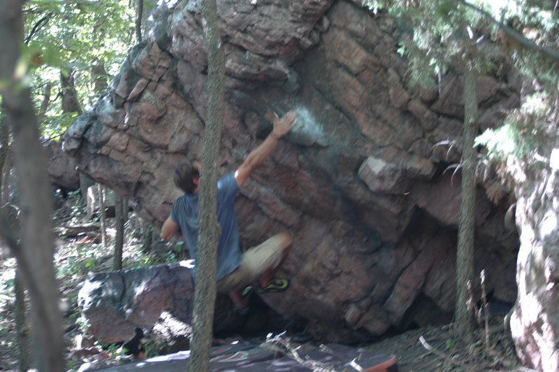 Rock Climbing Photo: The big move