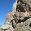 Mike Newheart climbing.