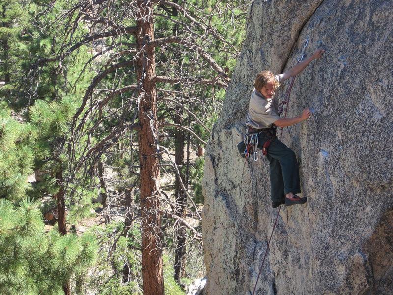 Rock Climbing Photo: Christian steps through.