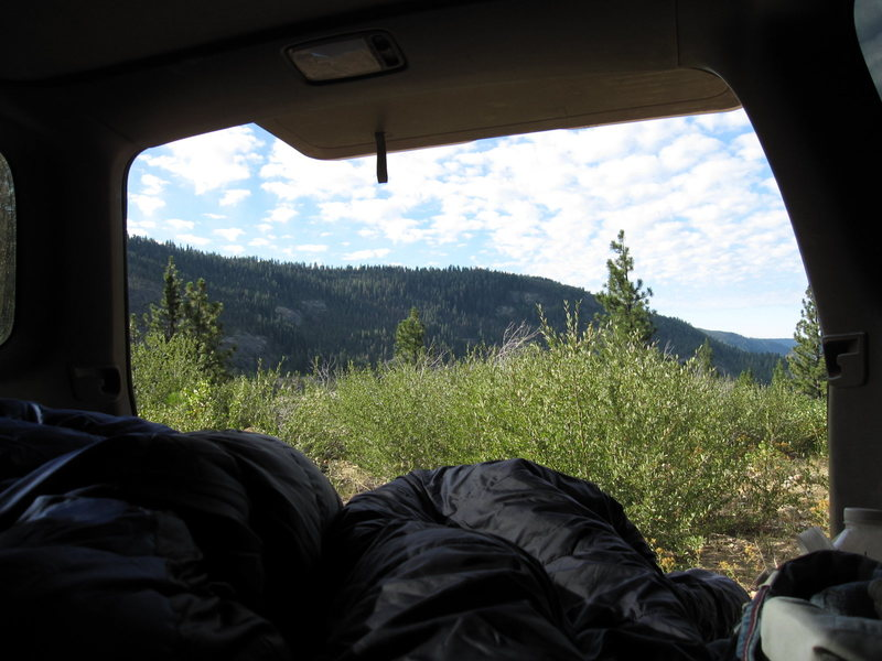 View out the back 'porch' of the truck.