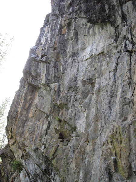 Left side of the main Bowman wall. The routes on the far left climb over the water.