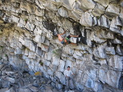 Rock Climbing Photo: 'Hey Ladies' (13b) climbs horizontally on the unde...