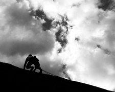 Rock Climbing Photo: Matt Clark into easier terrain on SLHF, Jazz Dome.