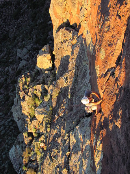 "Colin Lee on the second ascent of ""Solar Eclipse""."