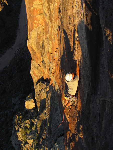 """Colin on the steep upper section of """"Solar Eclipse."""""""