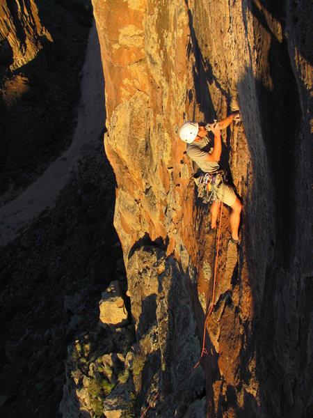 "Rock Climbing Photo: Colin placing thin gear on ""Solar Eclipse.&qu..."