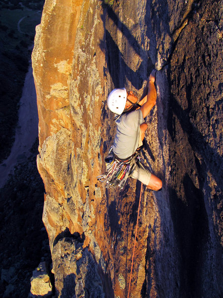 "Rock Climbing Photo: Colin finishing ""Solar Eclipse"" at the e..."