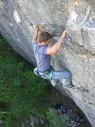 Rock Climbing Photo: Getting to the mantle via interesting Iron-Crimps