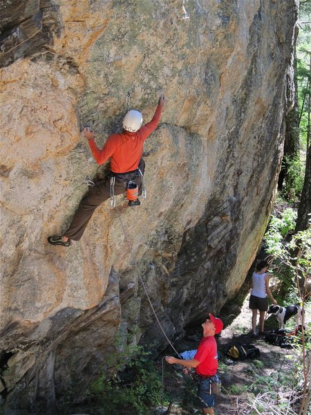 Rock Climbing Photo: Jesse Shultz at the start of the route.  Almost fo...