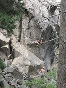 Jackie Hueftle at clip 2 of 3 on Bat Boy, Upper Dream Canyon, Colorado.  Photo by Devin Finucane.