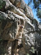 Rock Climbing Photo: Eric Murdock on the lower half of the route.  The ...