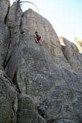Rock Climbing Photo: Reaching the mid way ledge on Earth Daze, 5.10c