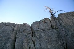 Rock Climbing Photo: Moving passed the crux up to the anchors on Sprock...