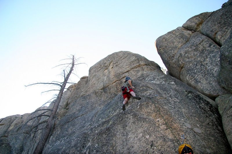 Rock Climbing Photo: Just passed the crux sequence on Cinder, 5.11a