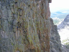 Rock Climbing Photo: P4 below the 2nd roof above the white hand crack.