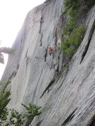 Rock Climbing Photo: Randy Garcia entering the crux. Poor lighting in t...