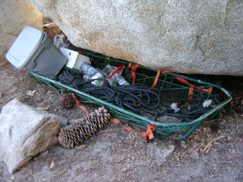 Rock Climbing Photo: The litter, first-aid, and water cache at the base...