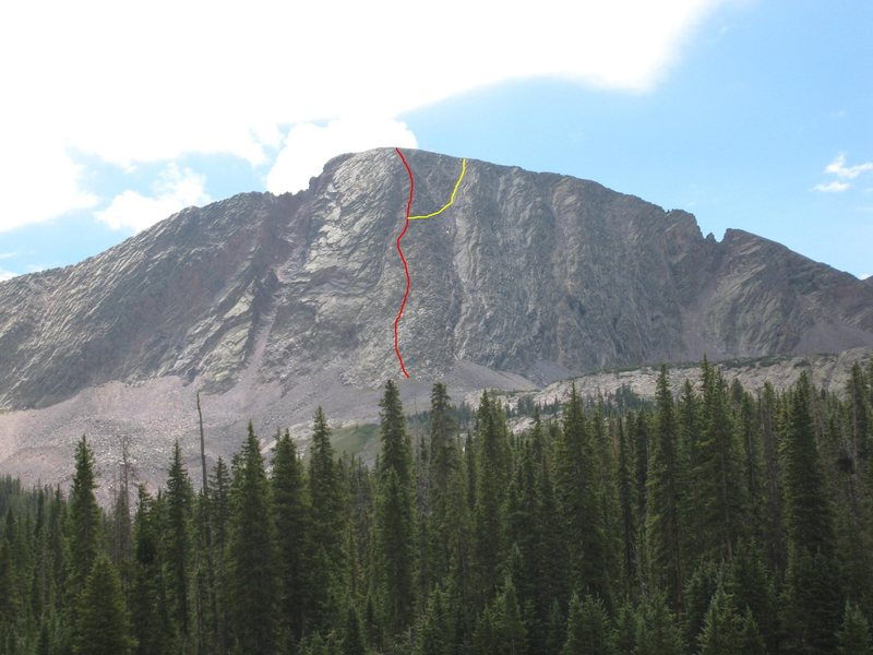 The route up the West Buttress. You can bypass the hard climbing by taking the yellow route to keep it 3rd class.