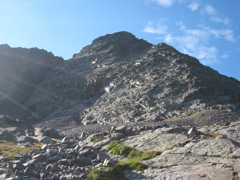 The West Buttress. The route starts on the grass at the base.