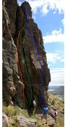 Rock Climbing Photo: Orange - Redrum. Green - Sleeper. Blue - Henry Spi...
