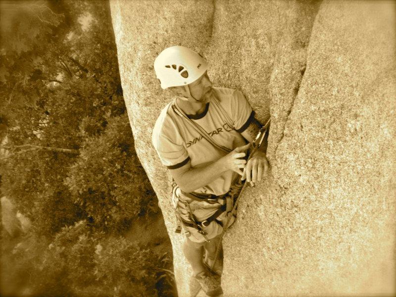 Rock Climbing Photo: Getting something in.