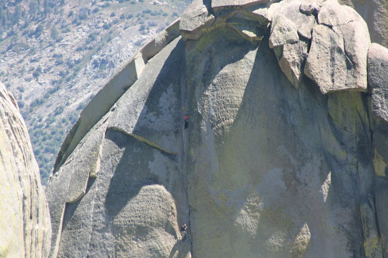 Rock Climbing Photo: Noelle leading the last pitch of Igor Unchained. 8...