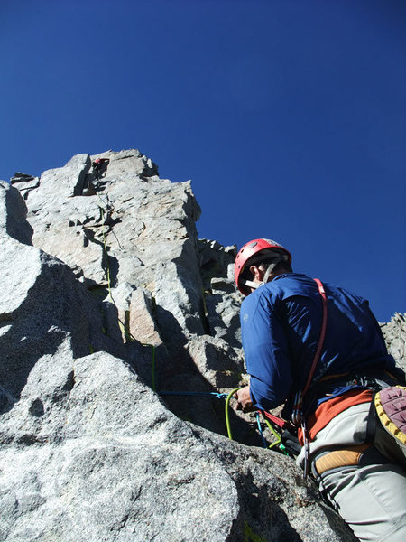 visiting climbers from Montana & SLC on one of the 5.7 pitches (I think P9 per Supertopo)