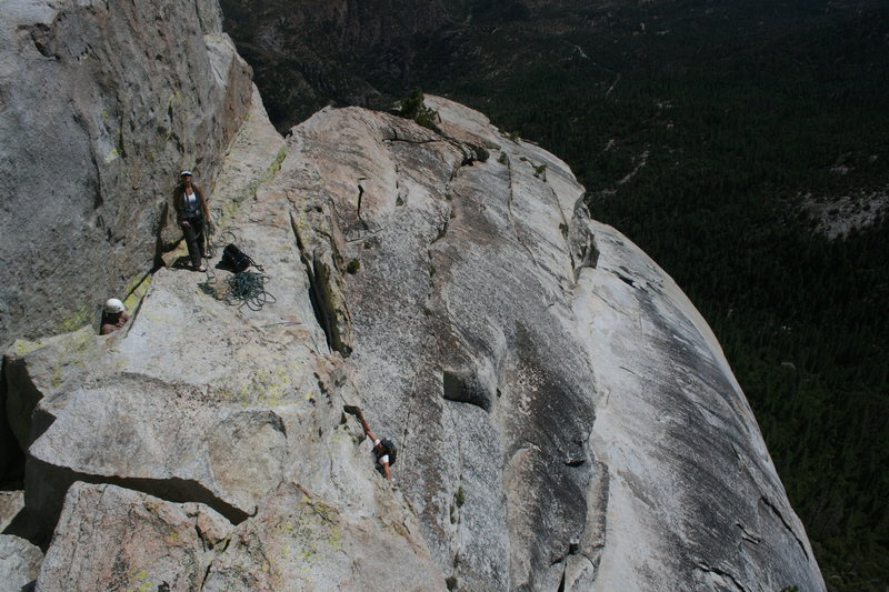 Agina on the last short pitch to the top of Poof on the Magician. 8-21-10