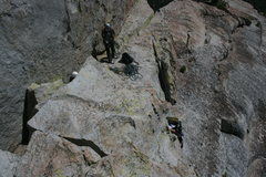 Rock Climbing Photo: Agina on the last short pitch to the top of Poof o...