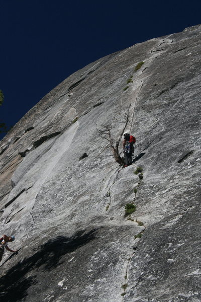 Nathan at the 1st belay and Sheila heading up. The Tree Route at Dome Rock.   8-22-10