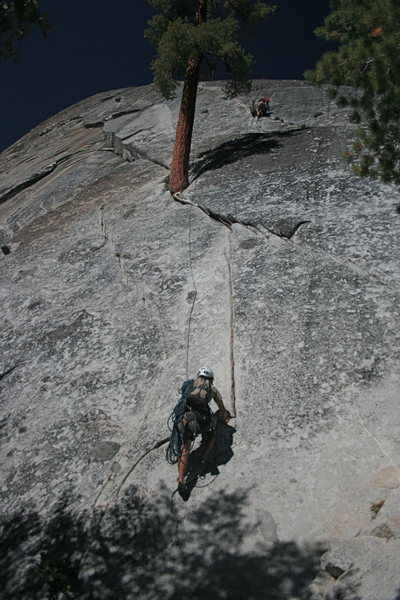Nathan and Sheila at the 1st belay and Alfred heading up. The Tree Route at Dome Rock.   8-22-10