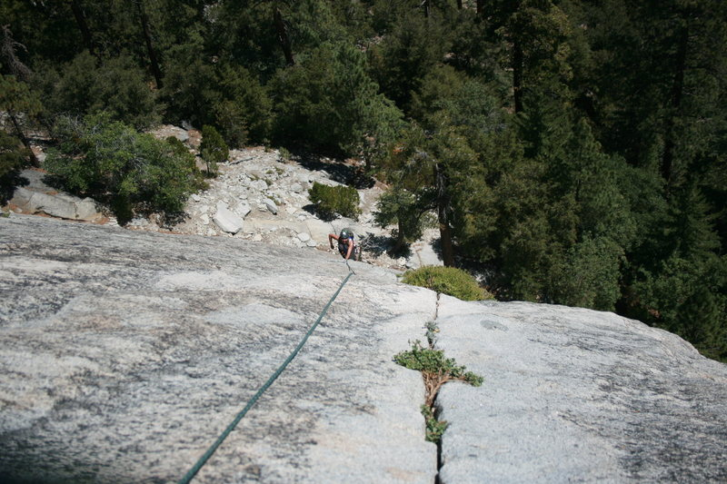 Agina coming up the 2nd pitch a beautiful crack. The Tree Route on Dome Rock.  8-22-10