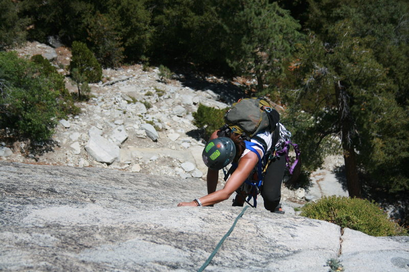 Rock Climbing Photo: Agina coming up the 2nd pitch a beautiful crack. T...
