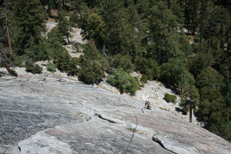Agina coming up the 3rd pitch another beautiful crack. The Tree Route on Dome Rock.  8-22-10