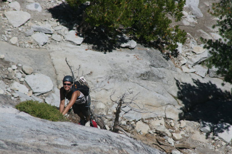 Marina on her first trad lead coming up pitch 2. Think she is having fun. The Tree Route on Dome Rock.  8-22-10