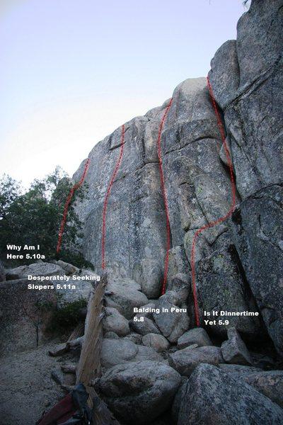 Rock Climbing Photo: Lower Dinosaur Rock - Left Topo