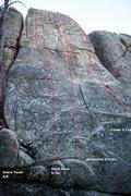 Rock Climbing Photo: Lower Dinosaur Rock - Center Right Topo