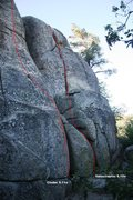 Rock Climbing Photo: Lower Dinosaur Rock - Right Topo