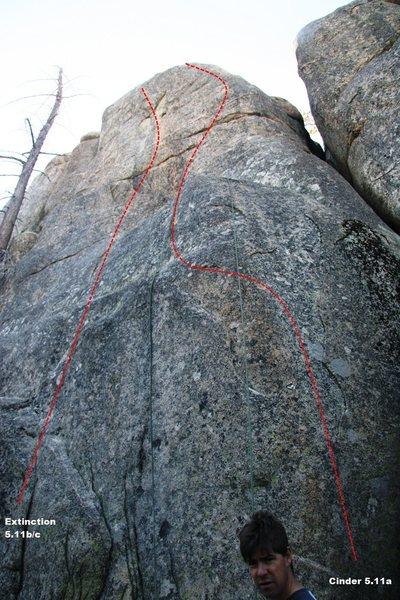 Rock Climbing Photo: Lower Dinosaur Rock - Cinder and Extinction Topo
