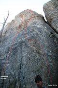 Rock Climbing Photo: Lower Dinosaur Rock - Cinder and Extinction Topo