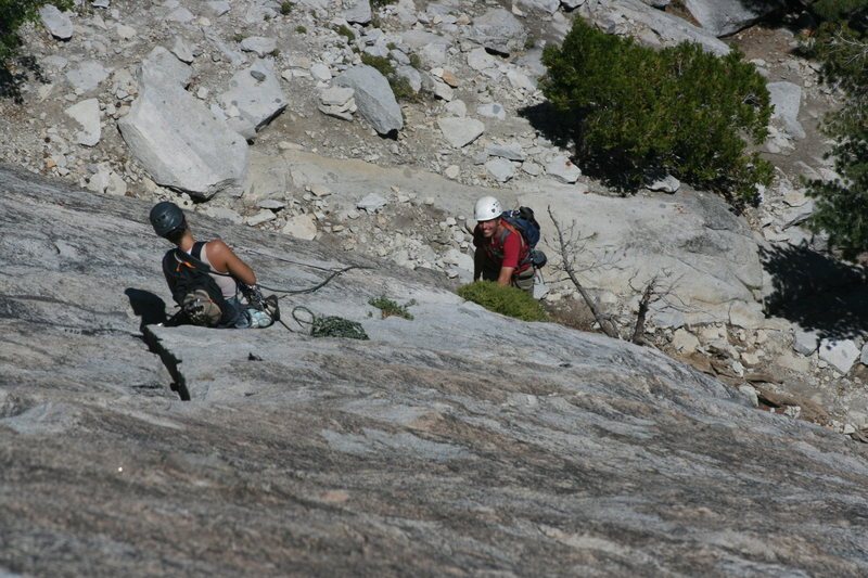 Marina belaying Nathan up pitch 2. The Tree Route on Dome Rock. 8-22-10