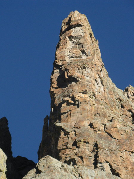 Rock Climbing Photo: The route is in the shade just left of the sun/sha...