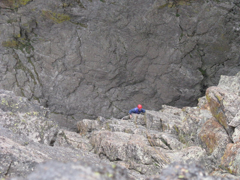 Nearing the top of the final pitch.  You can almost touch the rap route on Petit Gripon in the background.