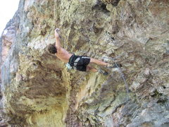 Rock Climbing Photo: Evan deflowering the route in front of his parents...