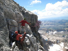 Rock Climbing Photo: Setting up the 120ft rappel to the Upper Saddle
